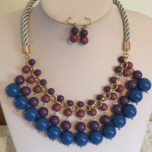 Royal blue purple bead necklace earring set